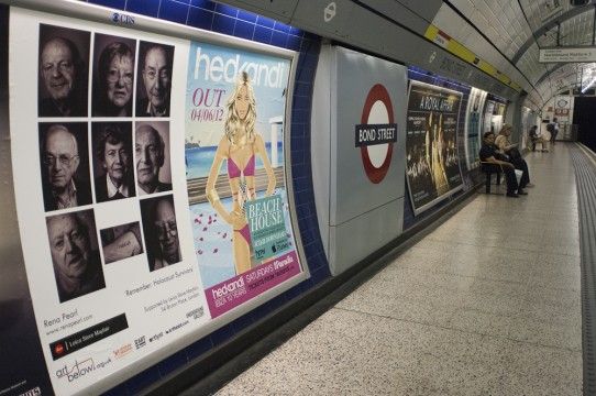 Poster of work up at Bond Street Tube station