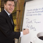Ed Balls MP supporting  Coop Fairtrade tea