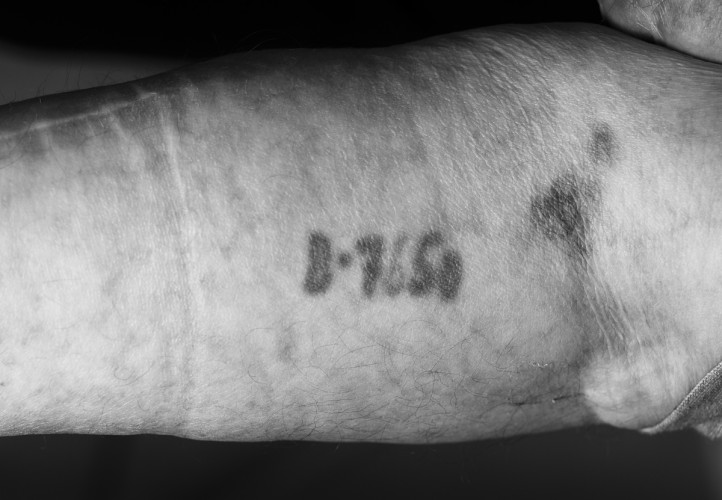 Tatto of Bob (Berek) Obuchowski, Lodz Ghetto, & Auchwitz survivor.