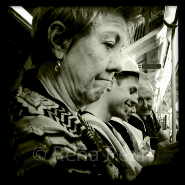 Candid portrait taken on Northern line tube