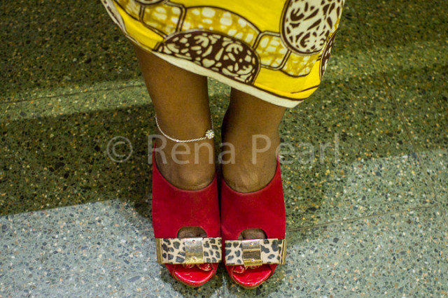 Red open toe shoes in worn in winter